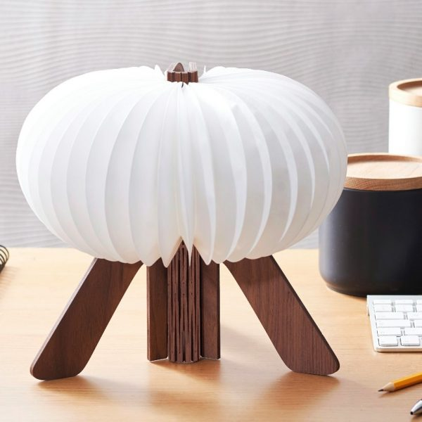 A rechargeable R light. A wooden 3D R when it's closed and a stylish lamp when open. Operable with a remote control. Charge by USB. in Walnut wood