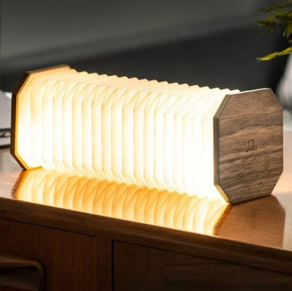 A portable rechargable lamp shaped like an accordion. With walnut wood octagonal ends and white tyvek pleated paper. pull the light to light up.