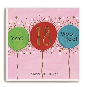 A square card with colourful balloons on and a spotty background. The number 18 is printed in copper leaf in the centre of the middle balloon.