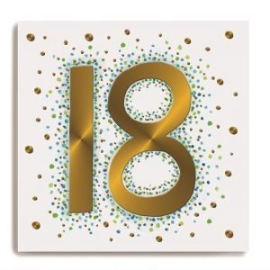 A white square card with a large gold number 18 in the centre of it. There are colourful dots all around on the background of the card.