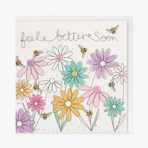A get well soon card with colourful hand drawn flowers and the words feel better soon