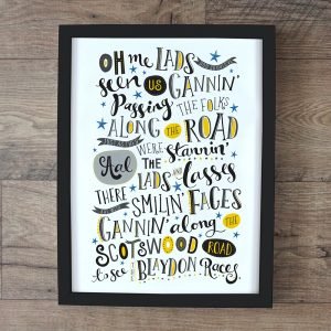 An A4 print of the Blaydon Races words printed in a variety of fonts.