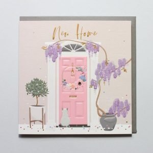A luxurious new home card with embossing and foiled details. The image is of a pink front door with a wisteria plant and a cat