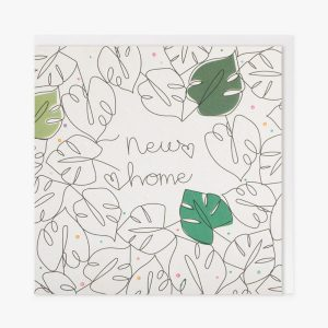 a new home card with black line drawing of tropical leaves. Three of the leaves are coloured green,the rest are white