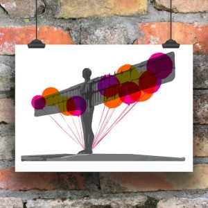 A print of the Angel of the North with orange and pink balloons behind it