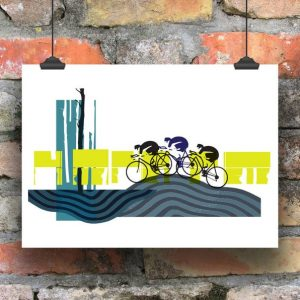 A printed of a contemporary scene with three cyclists on it.