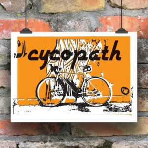 A print of a bicycle with a orange background and the word Cycopath printed on it
