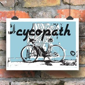 A print of a bicycle with a blue background and the word Cycopath printed on it