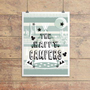 An A4 print with an image of a teepee style tent and the words The Happy Campers printed on it