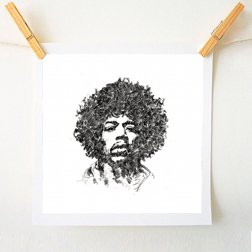 A print of a pencil drawing of musician and Rock star Jimi Hendrix