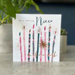 A square floral card from Hotchpotch's Raspberry range. With an image of birthday candles with the wording To a Special Niece printed on it.