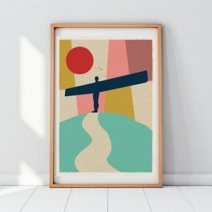 A colourful geometric print with the Angel of the North as the main focus. From local artis Gary WIlliams from the Left Hand Gang