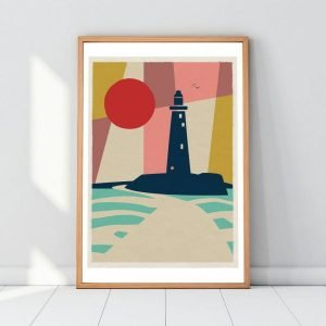 A colourful geometric print with St Mary's Lighthouse as the main focus. From local artis Gary WIlliams from the Left Hand Gang