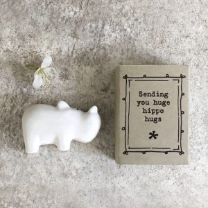 A sweet ceramic hippo keepsake in a matchbox with the words sending you huge hippo hugs printed on it.