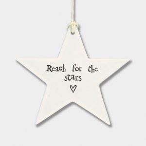 A lovely ceramic star hanging keepsake with the words Reach for the stars printed on it