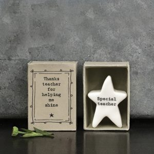 A cute little ceramic star keepsake in a mathcbox with the words Thanks teacher for helping me shine printed on it and Special teacher printed on the star