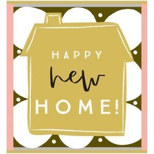 a new home card with a gold house on a black, white and pink patterned background