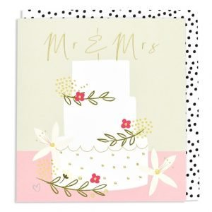 A wedding card with an illustration of a white 3 tier wedding cake decorated with flowers on a pink and natural background with Mr & Mrs written above the cake in gold