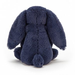 A beautiful navy blue super soft rabbit cuddly toy