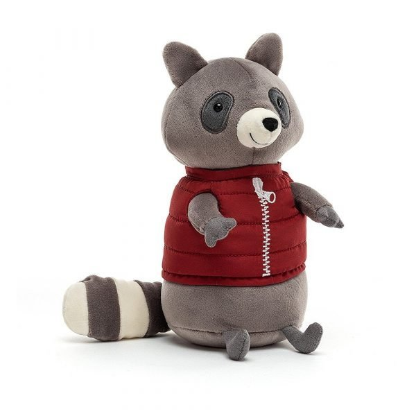 A sweet little grey campfire raccoon with velvet fur and a red body warmer jacket.