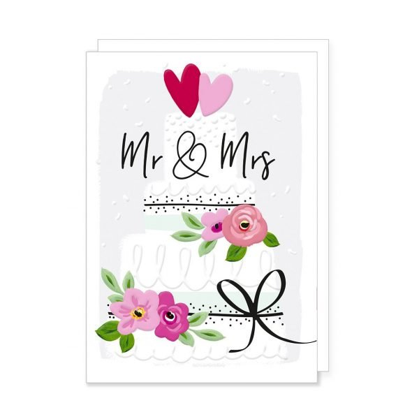A beautiful wedding card with a wedding cake with flowers and hearts in pinks with black gloss highlighs and Mr & Mrs