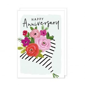 A bright and fun anniversary card with a pale blue background and a bouquet of brightly coloured flowers enhanced with black gloss highlights. The words happy anniversary are on the outside. Blank inside