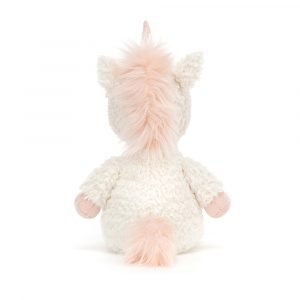 Sweet Flossie Unicorn is a cute little white toy with pink hooves horn and mane.