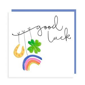 A white square card with a horseshoe, rainbow and four leaf clover good luck charms. Printed in really bright colours with black gloss highlights. Good luck.