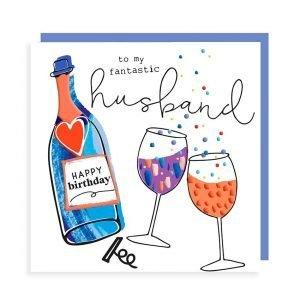 A white square card with a drawing of a wine bottle and two wine glasses. Printed in vibrant colours with embossing and black gloss highlights. The wine bottle has happy birthday on the label and the words on the card say to my fantastic husband