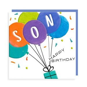 A white square card with an illustration of a present with balloons attached. The balloons are green, orange, purple, navy and blue. They have SON in white letters in three of them. Coloured specs decorate the background. The colours are vibrant with black gloss highlights and Happy birthday in black gloss print.