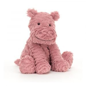 Fuddlewuddle hippo is a cute pink cuddly toy with fluffy fur and sweet little ears.