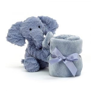 A cute fuddlewuddle elephant soother from Jellycat. Perfect for newborn babies.