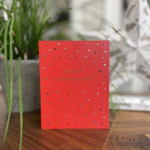 A sweet red card which is covered in multi coloured tiny hearts. The words Happy Anniversary are printed in gold shimmer effect.