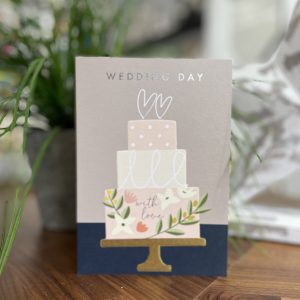 A gorgeous card with a wedding cake image on and the words Happy Wedding Day printed on it.