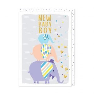 A new baby boy card with 2 cute elephants and lots of little hearts.