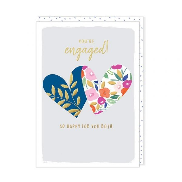 An engagement card with 2 colourful floral hearts on a pale blue background and the words You're Engaged so happy for you both