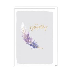 An elegant sympathy card with a purple and white feather on a lilac background and deepest sympathy printed in gold