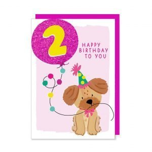 A second birthday card with an illustration of a cute puppy holding a glittery bright pink age 2 balloon.
