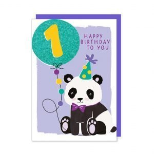 A first birthday card with an illustration of a cute party panda holding a glittery bright blue age 1 balloon.