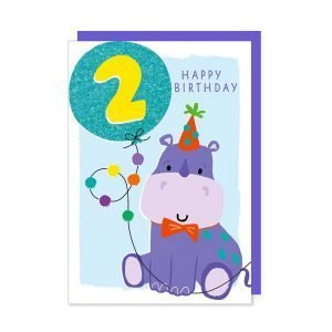 A second birthday card with an illustration of a cute party hippo holding a glittery bright blue age 2 balloon.