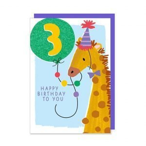 A third birthday card with an illustration of a cute party giraffe holding a glittery bright green age 3 balloon.