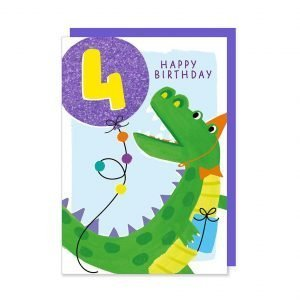 A 4th birthday card with an illustration of a cute party dinosaur holding a glittery bright blue age 4 balloon.