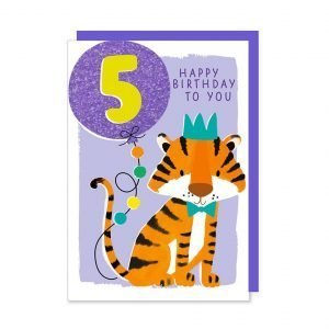 A fifth birthday card with an illustration of a cute party tiger holding a glittery bright blue age 5 balloon.