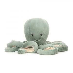Odyssey octopus is a gorgeous velvety soft sea green cuddly toy from Jellycat. With long furry tentacles and a sweet little smile.