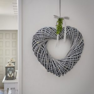 A grey willow chaplet heart from Retreat Home makes a great wall hanging.