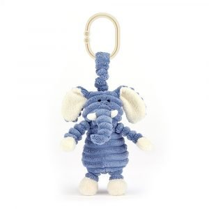 A cute pram toy with jitter inside of it. A cute elephant made from blue thick corduroy attached to a little hoop. This little toy jitters around when turned on