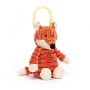 A cute pram toy with jitter inside of it. A cute fox made from orange thick corduroy attached to a little hoop. This little toy jitters around when turned on