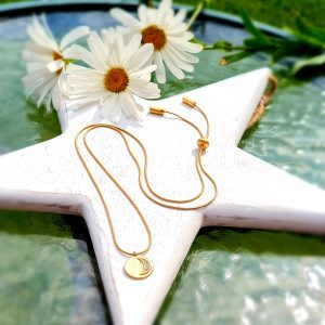 A long gold snake chain necklace with a crescent moon diamante charm. The necklace is adjustable so it can be worn long or short