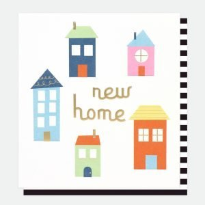 A square white card with really colourful illustrations of 5 houses and new home in gold