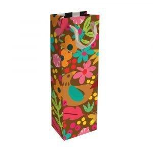a dark floral bottle bag